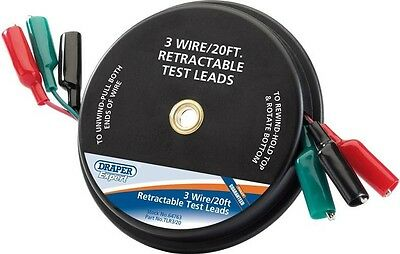 Draper 64763 Expert 20Ft 3 Wire Retractable Test Leads