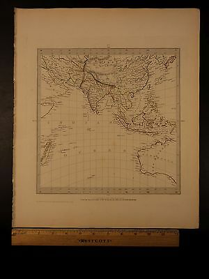 1844 BEAUTIFUL Huge Color MAP of Asia Indian Ocean Philippines China India ATLAS