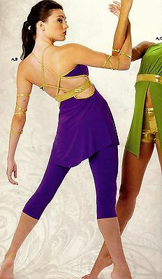 NWOT CONTEMPORARY MODERN DANCE COSTUME Small ADULT Purple Gold top/pants