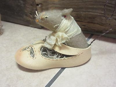 Sale ,New adorable felt mouse in baby shoe Must see collection primitive,country
