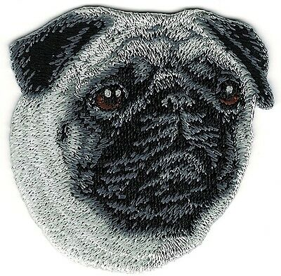 """2 1/4"""" x 2 1/2"""" inch Pug Dog Breed Portrait Embroidery Patch"""