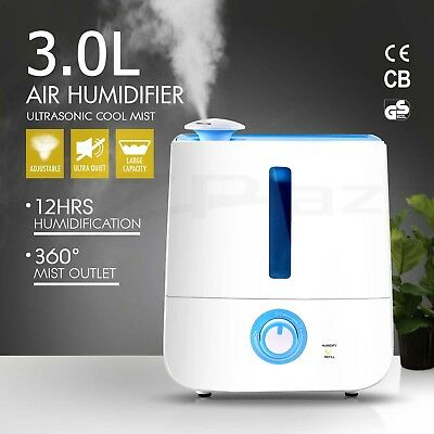 3L Air Humidifier Ultrasonic Cool Mist Steam Nebulizer Diffuser Purifier