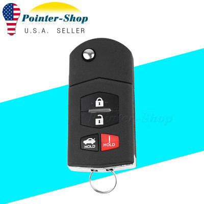 Keyless Entry Car Remote Control Flip Key Fob Replacement for Mazda SKE12501 4B