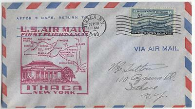 US cacheted cover Ithaca NY NYC First Flight 1948