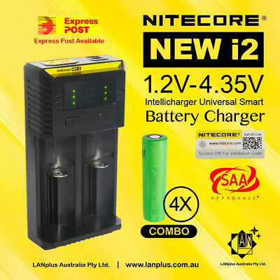 Nitecore New I2 smart Charger + 4x Sony VTC4 2100mAh 30A HIGH discharge 18650