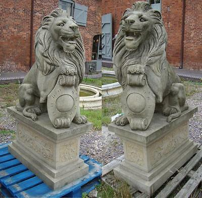 Pair of Heraldic Seated Lions on Bases - Hand Carved Solid Stone - Height 157cm