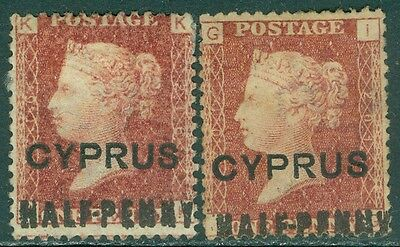 CYPRUS : 1881. Stanley Gibbons #7. 2 stamps. VF Mint No Gum PL 201, 216 Cat £190