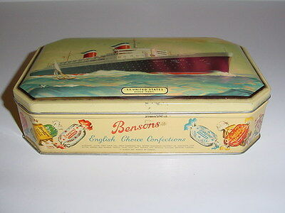SS UNITED STATES LINES  Bensons Candy Box  /  Mid-Century  /  Top Condition