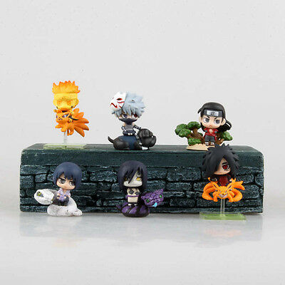 "6x Naruto 2.5"" Mini Action Figures Set: Kakashi Sasuke Madara Orochimaru & More"