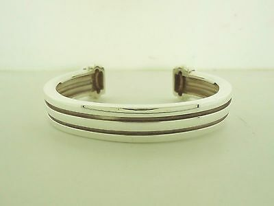 100% Tiffany & Co. 925 Sterling Silver 1995 Atlas Grooved Cuff Bangle Bracelet