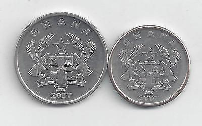 2 DIFFERENT COINS from GHANA - 5 & 10 PESEWAS (BOTH 2007)