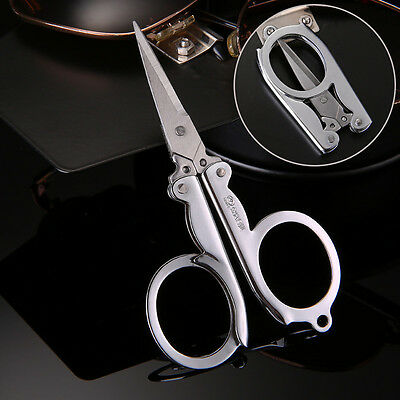 Handy Pair of Folding Scissors Stainless Steel Travel Pocket Foldable Multi User