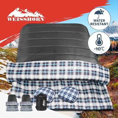 WEISSHORN Camping Envelope Double Sleeping Bag -10°C Thermal Hiking Dark Grey