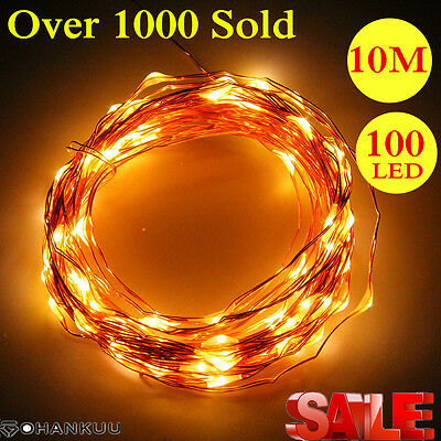 10M 100LED Copper Wire Xmas Wedding String Fairy Light Lamp Battery Operated NC
