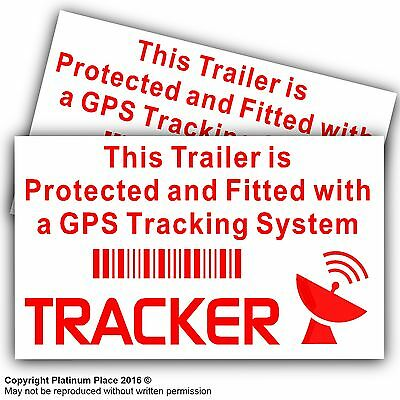 2 x Trailer GPS Tracker Warning Stickers-Car,Van,Camping,Lorry Security Signs