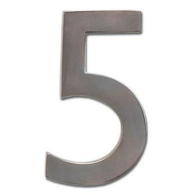 Solid Cast Brass 5 in. Dark Aged Copper Floating House Number 5