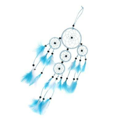 Five Circles Dream Catcher w/ Blue And White Feather Wall Hanging Decoration