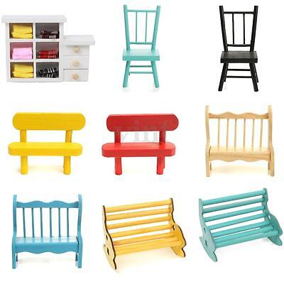 Wooden Mini Chair Cupboard Photography Props Dolls House Park Furniture Deocr