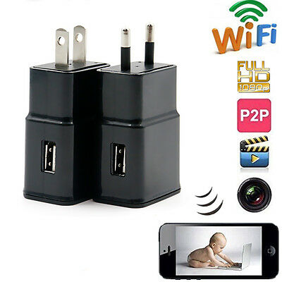 8GB 1080P WIFI Security Mini SPY Hidden Wall Charger IP Camera Adapter Plug Cam