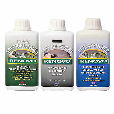 Renovo BLACK Reviver Kit, Soft top Canvas Cleaner, Reviver, Ultra Proofer 500ml