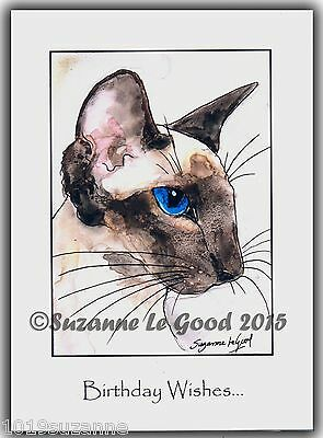 Original Large Sealpoint Siamese Cat Painting Birthday Card By Suzanne Le Good