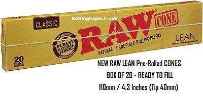BOX of 20 RAW Rolling Papers New LEAN Pre-Rolled Cones 110mm/4.3""