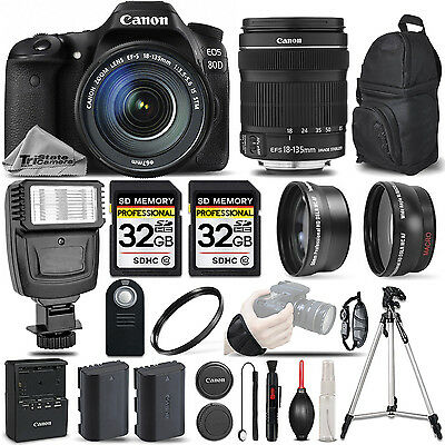 Canon EOS 80D DSLR Camera + 18-135mm IS USM - 3 LENS KIT + FLASH - 64GB BUNDLE