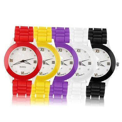 Fashion Men Women Girl Couple Silicone Rubber Band Quartz Wrist Watch NF
