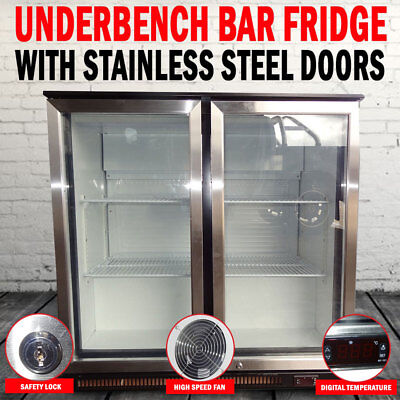 2 Door Under Bench Display Fridge Refrigerator With Stainless Steel Doorss