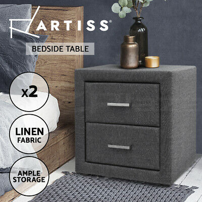 2x Bedside Table Elegant Fabric Cabinet 2 Drawers Nightstand Chest Grey