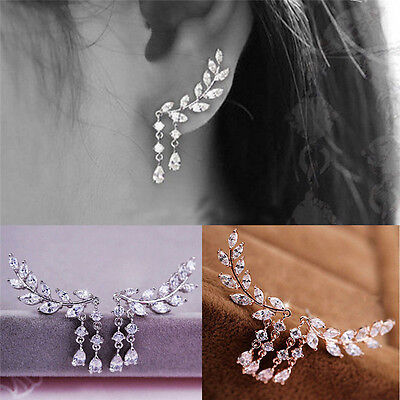 Fashion Women Gold Silver Leaves Tassel Ear Stud Crystal Zircon Earrings Jewelry