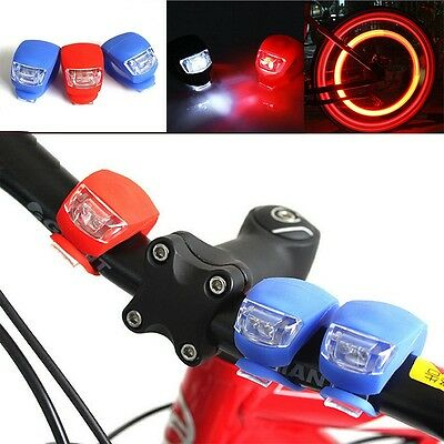 2X Waterproof Silicone Bike Bicycle Cycling Head Front Rear LED Flash Light Lamp