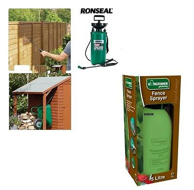 5L Kingfisher / Ronseal Pressure Pump Sprayer Gun Shed & Fence Garden Wood Paint
