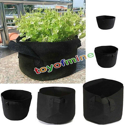 Black Grow Pots Basket Plant Vegetable Fabric Pouch Round Aeration Container Bag