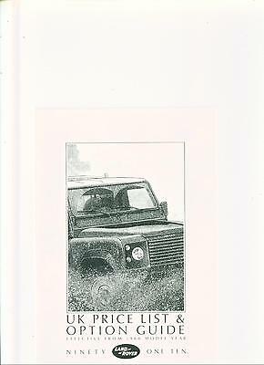 Land Rover 90/110 Price List Sales Brochure 1988 Model Year