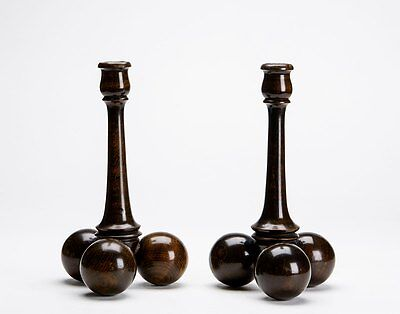 Stylish Art Deco Pair Wooden Ball Feet Candlesticks 20Th C.