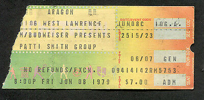 1979 Patti Smith concert ticket stub Wave Because The Night Aragon Chicago