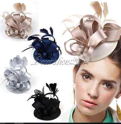 Silver, Champagne, Navy & Black Silk Fascinators. Boxed.Brand New UK Stock.