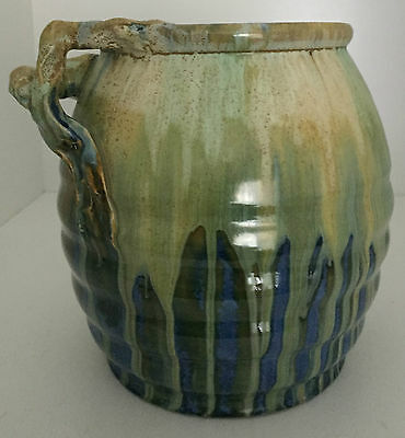REMUED AUSTRALIAN POTTERY TWIG HANDLED *LARGE* PLANTER EARLY SERIES 142L in EXC
