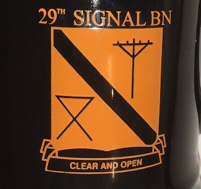 29th SIGNAL BN CLEAR AND OPEN Army Coffee Mug Black Gold