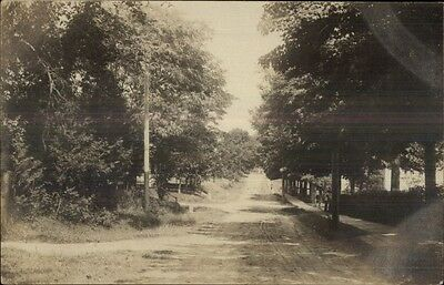 Dirt Road & Wood Sidewalk - Machias ME Cancel c1910 Real Photo Postcard
