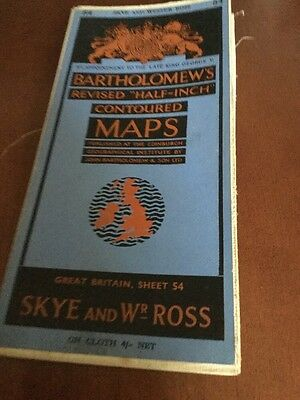 old map Bartholomews Revised  Sheet 54 Skye And Western Ross