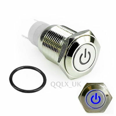 BLUE Led Lighted Push Button Metal ON-OFF Switch 16mm 12V For Car Boat Motor