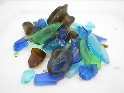 2 lbs BULK Dark Color Mix Sea Glass for Crafts Mosaic Lamp & Vase Filling Decor