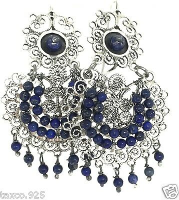 Taxco Mexican 925 Sterling Silver Beaded Bead Lapis Filigree Earrings Mexico