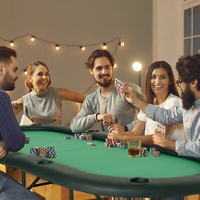 Rest Rail Foldable Poker Table Casino Top 8 Players Game Chip Trays Drink Holder