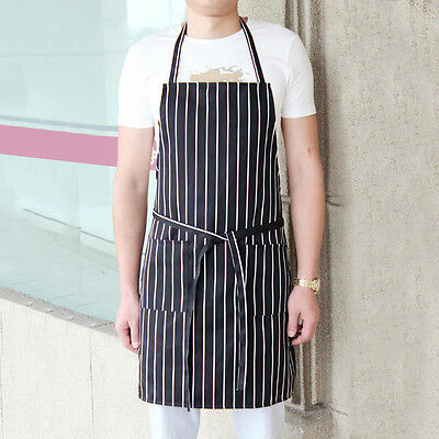 Restaurant Chef Waiter Cook Kitchen Black White Stripe Apron Uniform With Pocket