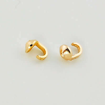 18K Solid Yellow Gold Crimp Hook ENDS Findings