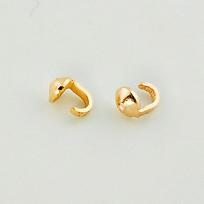 18K Solid Yellow Gold Crimp Hook ENDS Findings (2)