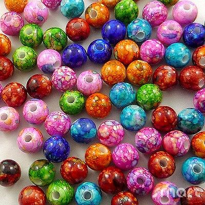 100pcs Assorted Round Mixed Colors Plastic Beads Lot Craft/Kids Jewelry Making